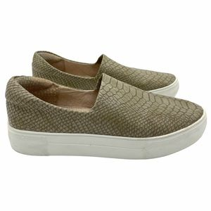 J/Slides Ariana Croc Leather Sneaker Taupe 7.5